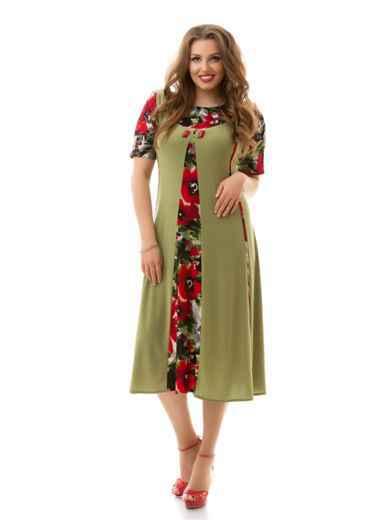 Платье батал с контрастными вставками хаки 46477, фото 1
