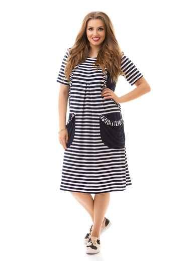 Платье батал в полоску с карманами чёрное 46478, фото 1