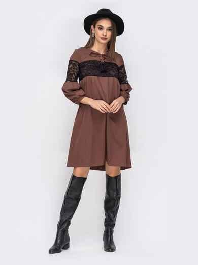 Платье бежевового цвета с гипюровыми вставками 42262, фото 1