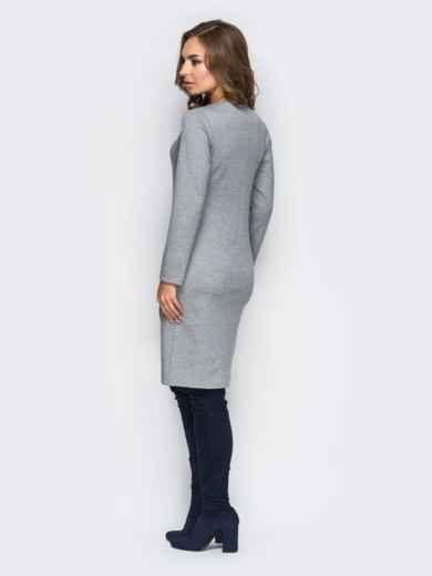 Платье приталенного кроя без застёжек с пуговицами серое - 13815, фото 2 – интернет-магазин Dressa