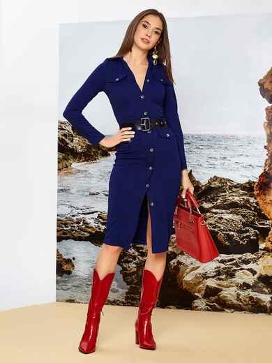 Приталенное платье-миди на пуговицах с поясом синее 42244, фото 1