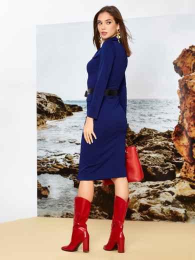 Приталенное платье-миди на пуговицах с поясом синее - 42244, фото 2 – интернет-магазин Dressa