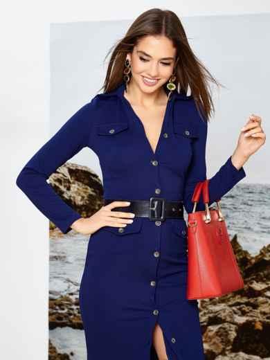 Приталенное платье-миди на пуговицах с поясом синее - 42244, фото 3 – интернет-магазин Dressa