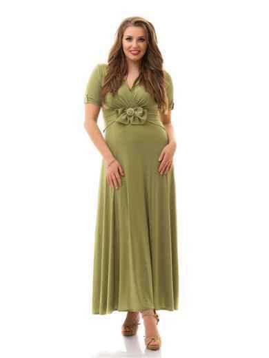 Приталеное платье большого размера цвета хаки 46480, фото 1