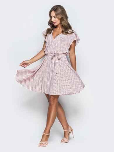 Розовое платье из софта в горох с запахом 38952, фото 2