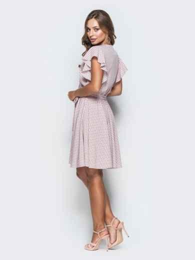 Розовое платье из софта в горох с запахом 38952, фото 3