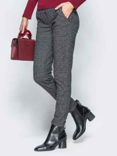 Тёмно-серые брюки из жаккарда с кантом на карманах - 17755, фото 3 – интернет-магазин Dressa
