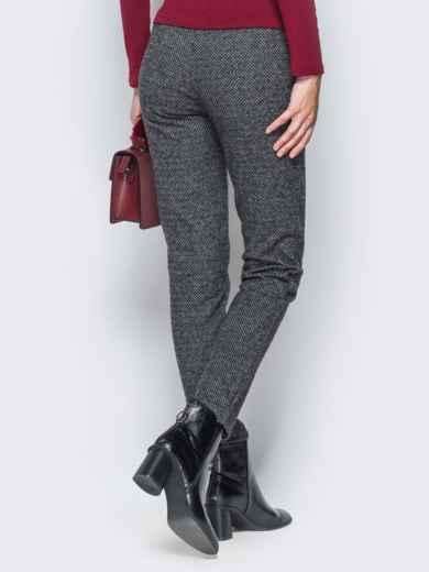 Тёмно-серые брюки из жаккарда с кантом на карманах - 17755, фото 4 – интернет-магазин Dressa