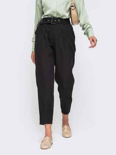 Зауженные брюки черного цвета с поясом 50173, фото 1