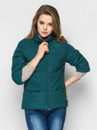 Зелёная куртка на силиконе с рукавом 3/4 - 12953, фото 2 – интернет-магазин Dressa