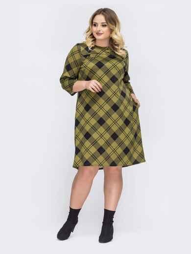 Зеленое платье-трапеция большого размера в клетку - 44033, фото 1 – интернет-магазин Dressa