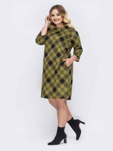 Зеленое платье-трапеция большого размера в клетку - 44033, фото 2 – интернет-магазин Dressa