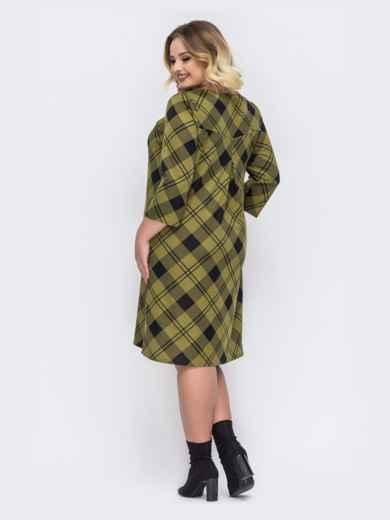 Зеленое платье-трапеция большого размера в клетку - 44033, фото 3 – интернет-магазин Dressa