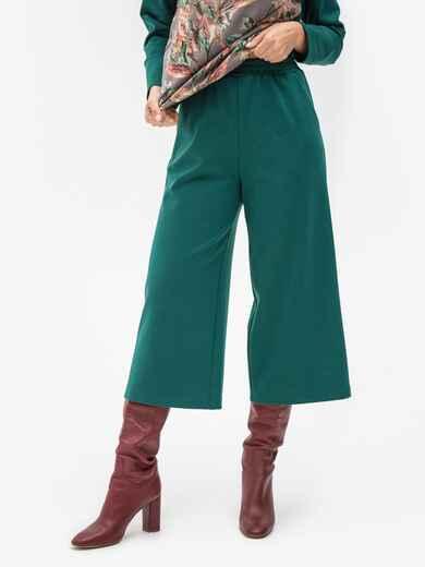 Зеленые брюки-кюлоты из джерси с завышенной талией 51251, фото 1