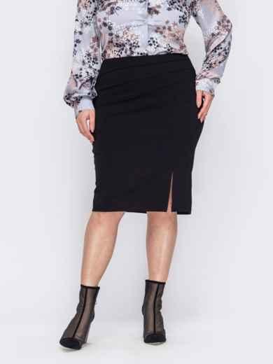 Черная юбка большого размера с фактурной отстрочкой 53114, фото 1