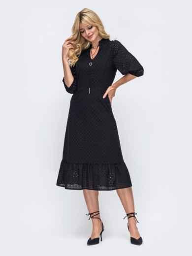 Чёрное платье из прошвы и оборкой по низу 50161, фото 2