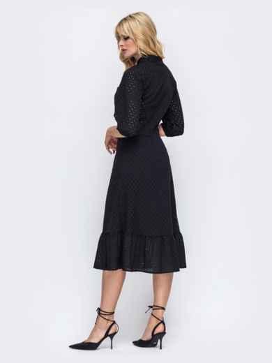 Чёрное платье из прошвы и оборкой по низу 50161, фото 3