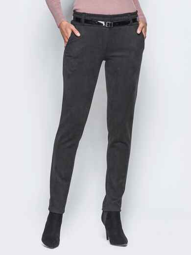 Черные брюки с кожаной отделкой на карманах 15719, фото 1