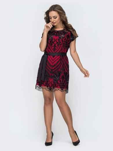 двухслойное платье с пайетками на фатине красное 44802, фото 1