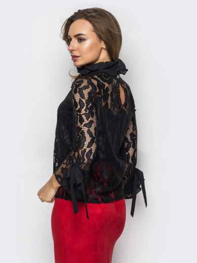 Гипюровая блузка с оборками на рукавах и лентами-завязками - 12186, фото 2 – интернет-магазин Dressa