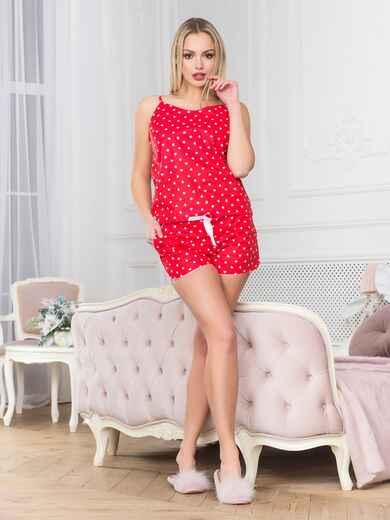 Красная хлопковая пижама с топом и шортами - 18966, фото 1 – интернет-магазин Dressa