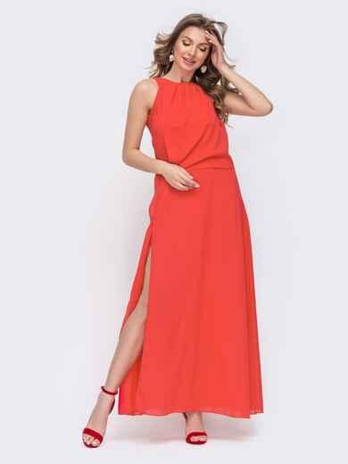 Красное платье-макси с американской проймой и разрезами по бокам 46715, фото 1
