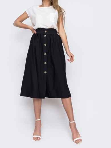 Льняная юбка-миди на пуговицах черная 48202, фото 1