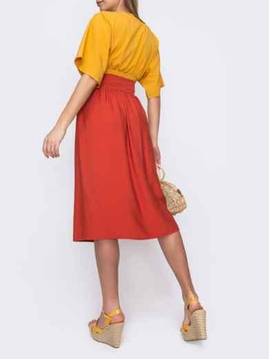 Льняная юбка-миди на пуговицах терракотовая 48203, фото 2