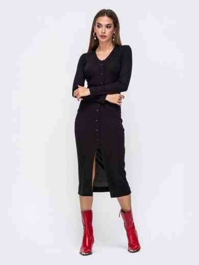 Обтягивающее платье из трикотажа с нитью люрекса черное 41742, фото 2