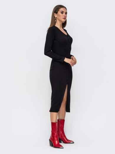 Обтягивающее платье из трикотажа с нитью люрекса черное 41742, фото 4