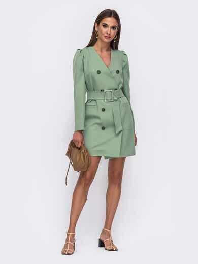 Платье-пиджак зелёного цвета с широким поясом 50090, фото 1