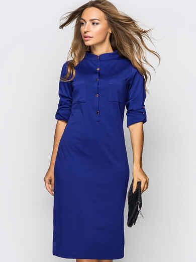 Платье полуприталенного кроя с шлевками тёмно-синее 54020, фото 1
