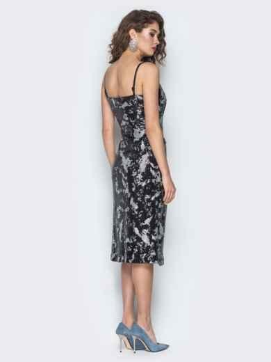 Платье с пайетками на регулируемых бретелях черное - 18604, фото 4 – интернет-магазин Dressa