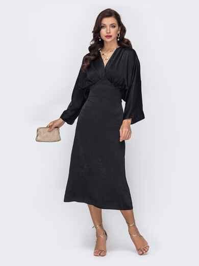 Шелковое платье с драпированным лифом черное 51930, фото 1