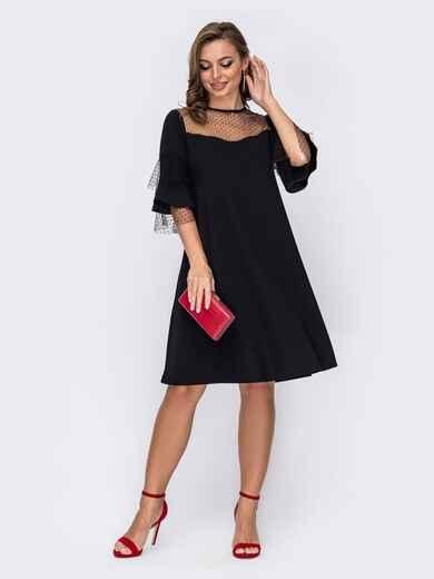 Вечернее платье-трапеция с фатиновой кокеткой черное 51928, фото 1