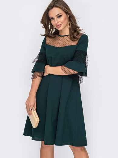 Вечернее платье-трапеция с фатиновой кокеткой зеленое 51929, фото 1