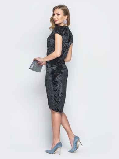 Черное велюровое платье на ложный запах с пайетками - 18796, фото 3 – интернет-магазин Dressa