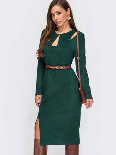 Зеленое платье из замши с фигурными вырезами 55523, фото 1
