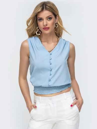 Голубая блузка с вафельной оборкой по низу 46893, фото 2