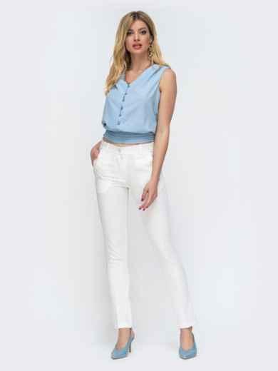 Голубая блузка с вафельной оборкой по низу 46893, фото 4