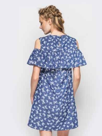 Летнее платье с открытыми плечами в принт - 12602, фото 2 – интернет-магазин Dressa
