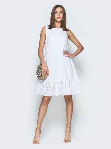 Платье-трапеция из прошвы с воланом по низу белое 38593, фото 1