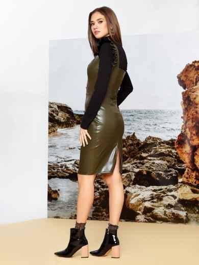 Сарафан из искусственной кожи цвета хаки - 42168, фото 2 – интернет-магазин Dressa