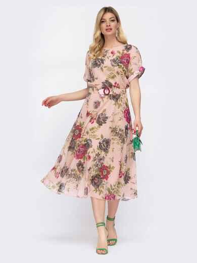 Шифоновое платье с принтом и расклешенной юбкой пудровое 48075, фото 1