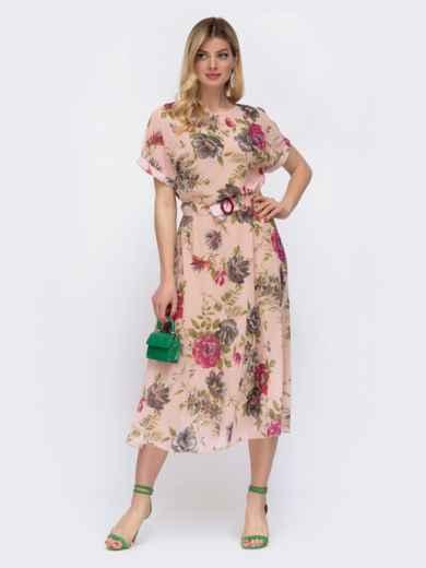 Шифоновое платье с принтом и расклешенной юбкой пудровое 48075, фото 2