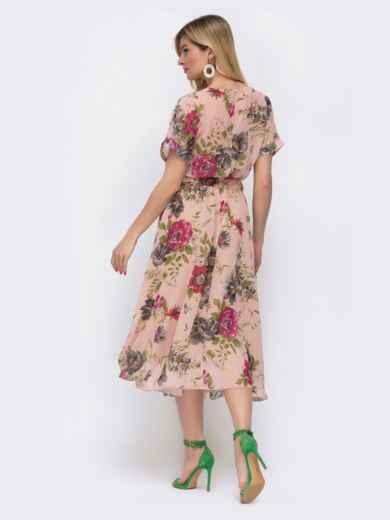 Шифоновое платье с принтом и расклешенной юбкой пудровое 48075, фото 3