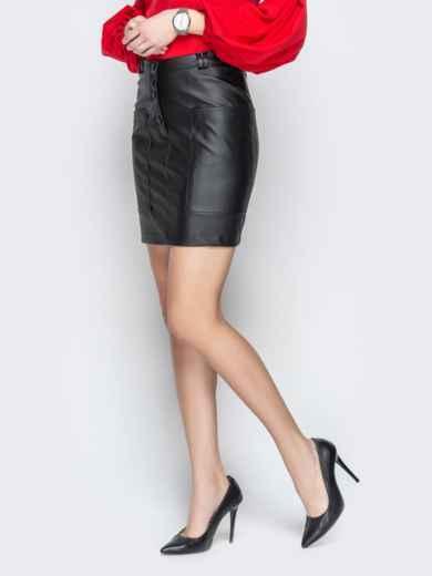 Юбка из эко-кожи с накладными карманами чёрная - 20871, фото 2 – интернет-магазин Dressa