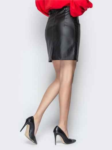 Юбка из эко-кожи с накладными карманами чёрная - 20871, фото 3 – интернет-магазин Dressa