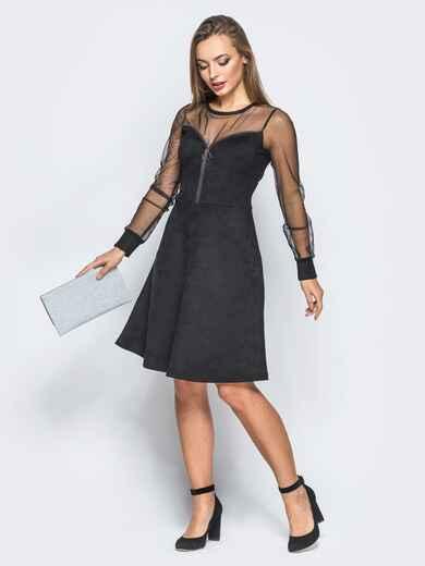 Замшевое платье черного цвета с функциональной молнией - 18227, фото 1 – интернет-магазин Dressa