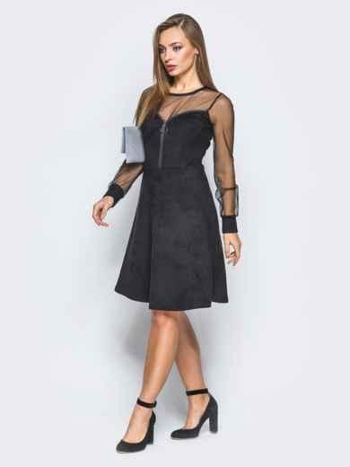 Замшевое платье черного цвета с функциональной молнией - 18227, фото 2 – интернет-магазин Dressa